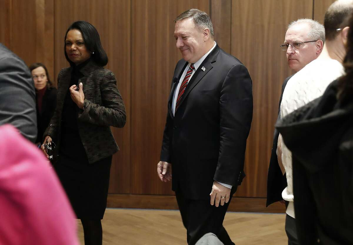 Former US Secretary of State Condoleezza Rice (L) and US Secretary of State Mike Pompeo (R) depart after an event hosted by the Hoover Institution at Stanford University in Stanford, California on 13 January 2020. (Photo by JOHN G. MABANGLO / EPA POOL / AFP) (Photo by JOHN G. MABANGLO/EPA POOL/AFP via Getty Images)