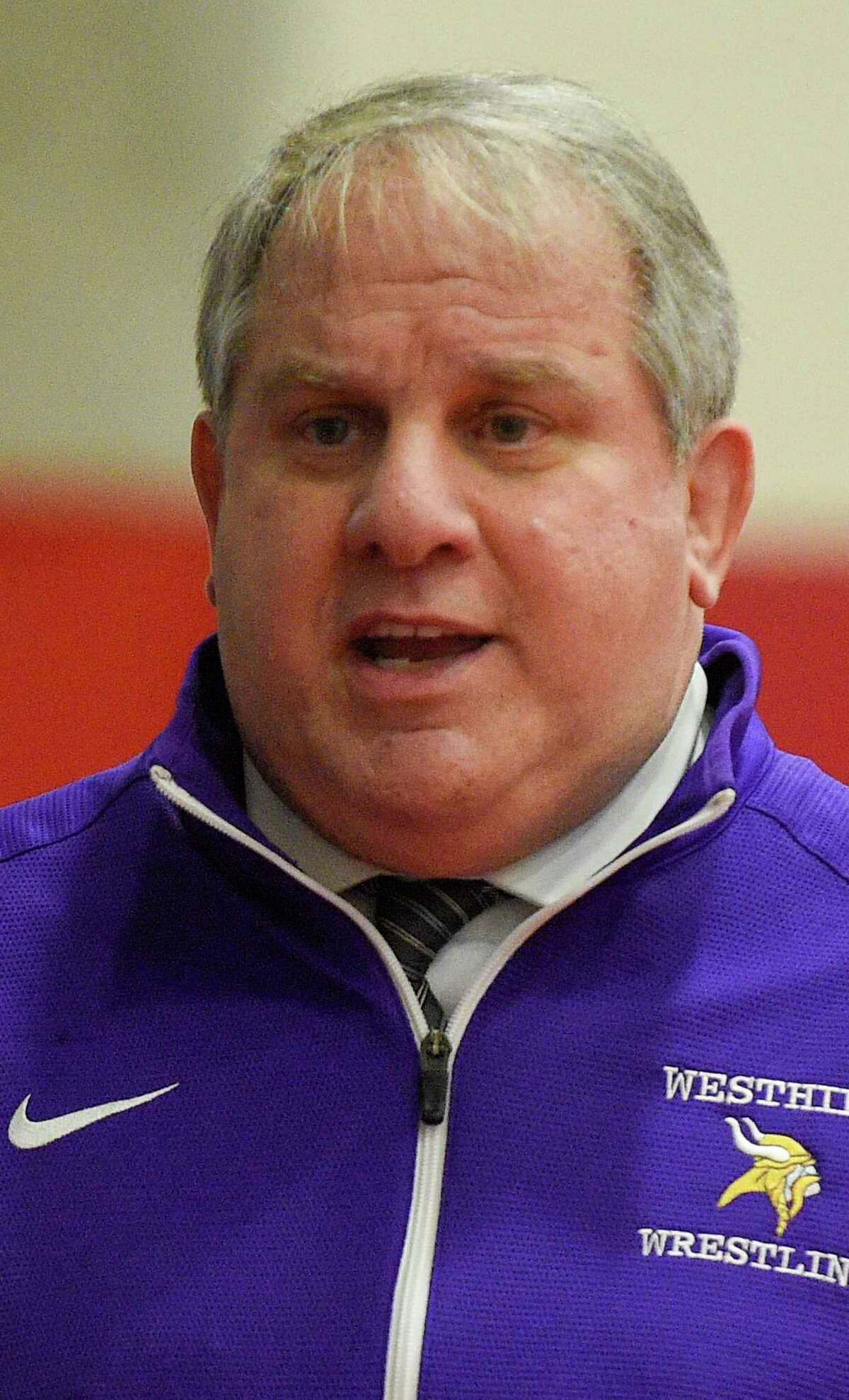 Westhill coach Mike Gigala in a boys wrestling match at Greenwich High School on Jan. 8, 2020 in Greenwich. Conn.