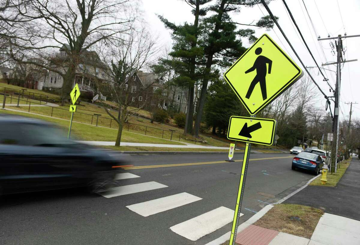 The crosswalk at Agnes Morley senior housing complex in which a senior was struck by a vehicle in Greenwich, Conn., photographed on Monday, Jan. 13, 2020.