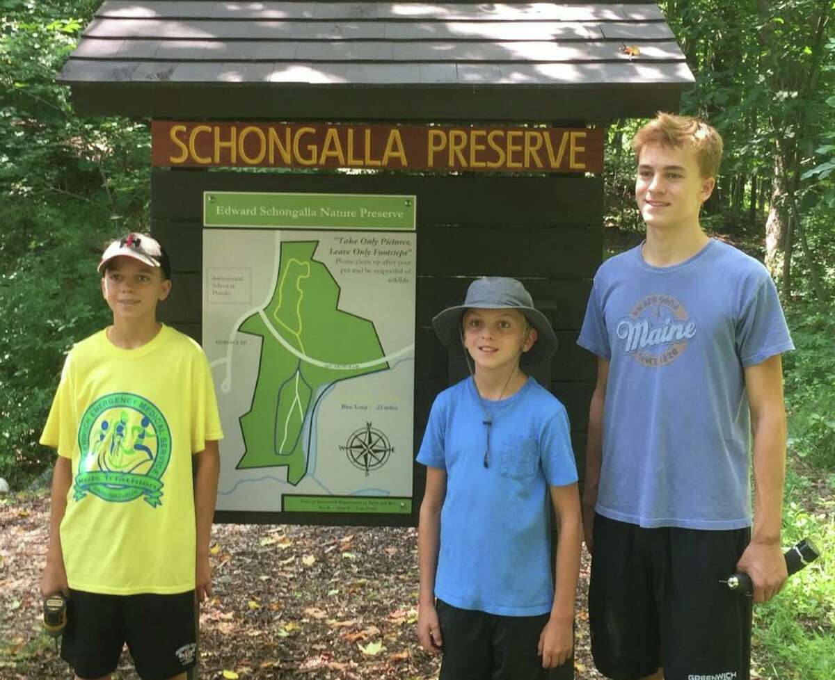 Greenwich High School Senior Alex Hanna, 17, with his brothers, Drew, 15, and Will, 12, earned his Eagle Scout after completing a project to rehabilitate the Edward Schongalla Nature Preserve located near the International School at Dundee.