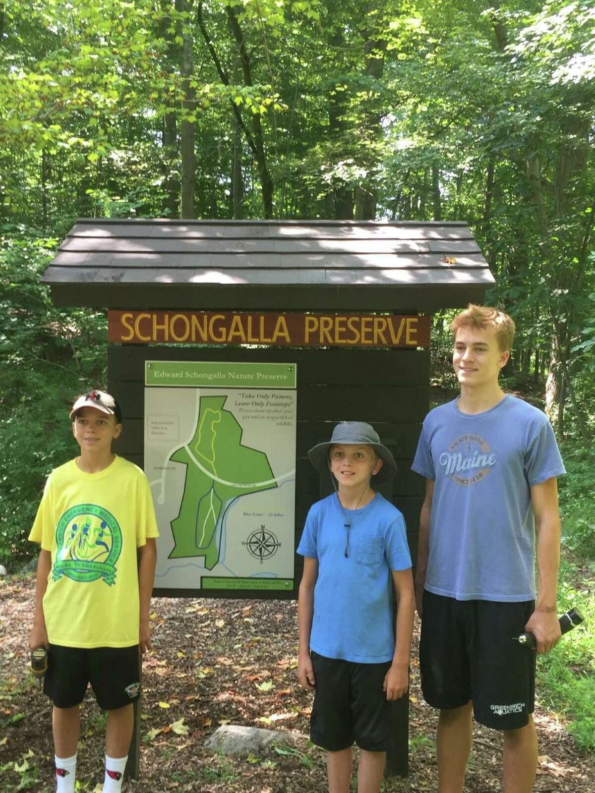 Greenwich High School Senior Alex Hanna, with his brothers, Drew (15) and Will (12), earned his Eagle Scout after completing a project to rehabilitate the Edward Schongalla Nature Preserve located near the International School at Dundee.