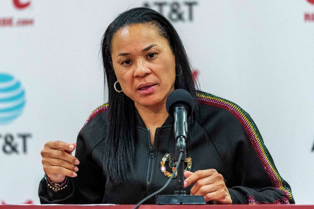 South Carolina head coach Dawn Staley speaks during a press conference last month. South Carolina was ranked No. 1 in the most recent women's basketball poll.