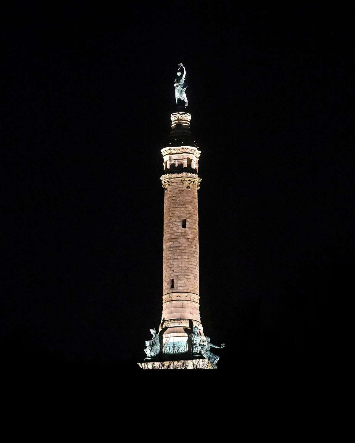 The Soldiers' and Sailors' Monument on the 366-foot summit of East Rock in New Haven Jan. 13, 2020.