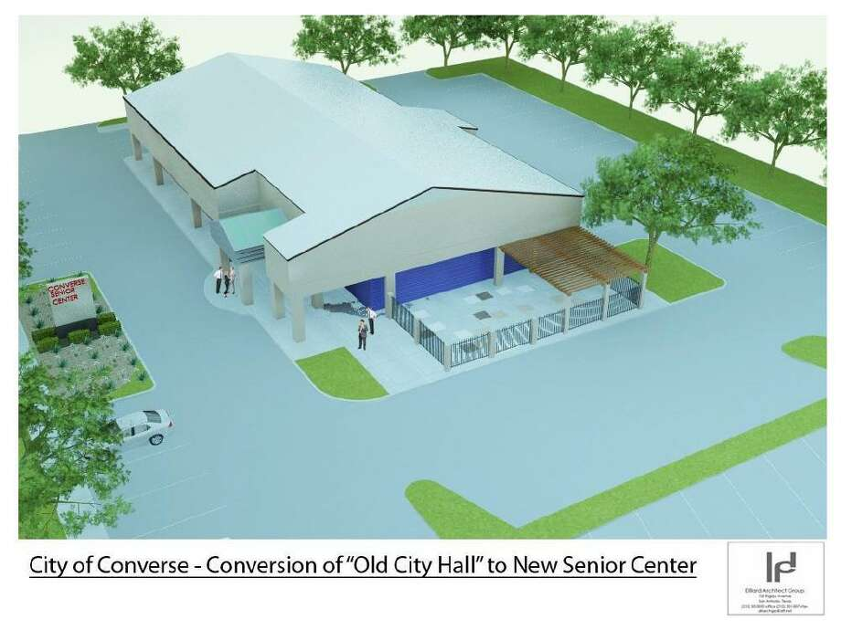 A 1,200 square-foot patio and additional parking will replace a portion of the former Converse City Hall that will be demolished to create a senior community center. The project is expected to be finished  in October. Photo: Courtesy Illustration /