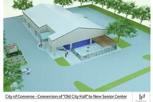 A 1,200 square-foot patio and additional parking will replace a portion of the former Converse City Hall that will be demolished to create a senior community center. The project is expected to be finished  in October.
