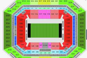 The cheapest Super Bowl seats (green) run $3,000 to $4,000 each. Pricer red/yellow end zone seats go for about $5,000. Fifty yard line seats are selling for a cool $10K each.