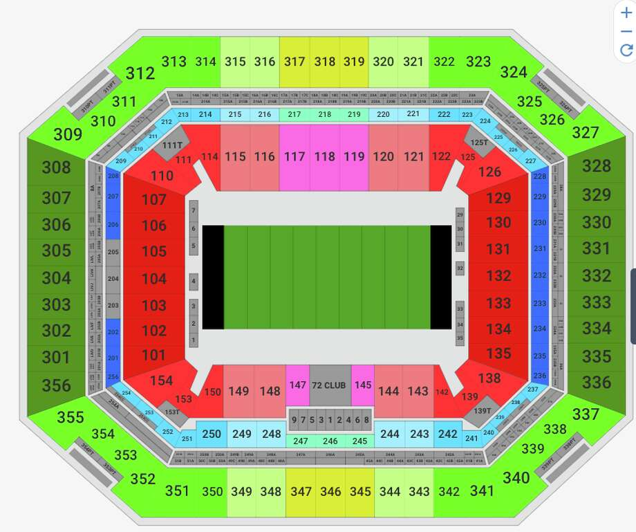 The cheapest Super Bowl seats (green) run $3,000 to $4,000 each. Pricer red end zone seats go for about $5,000. Fifty yard line seats (pink) are selling for a cool $10K each. Photo: VividSeats.com