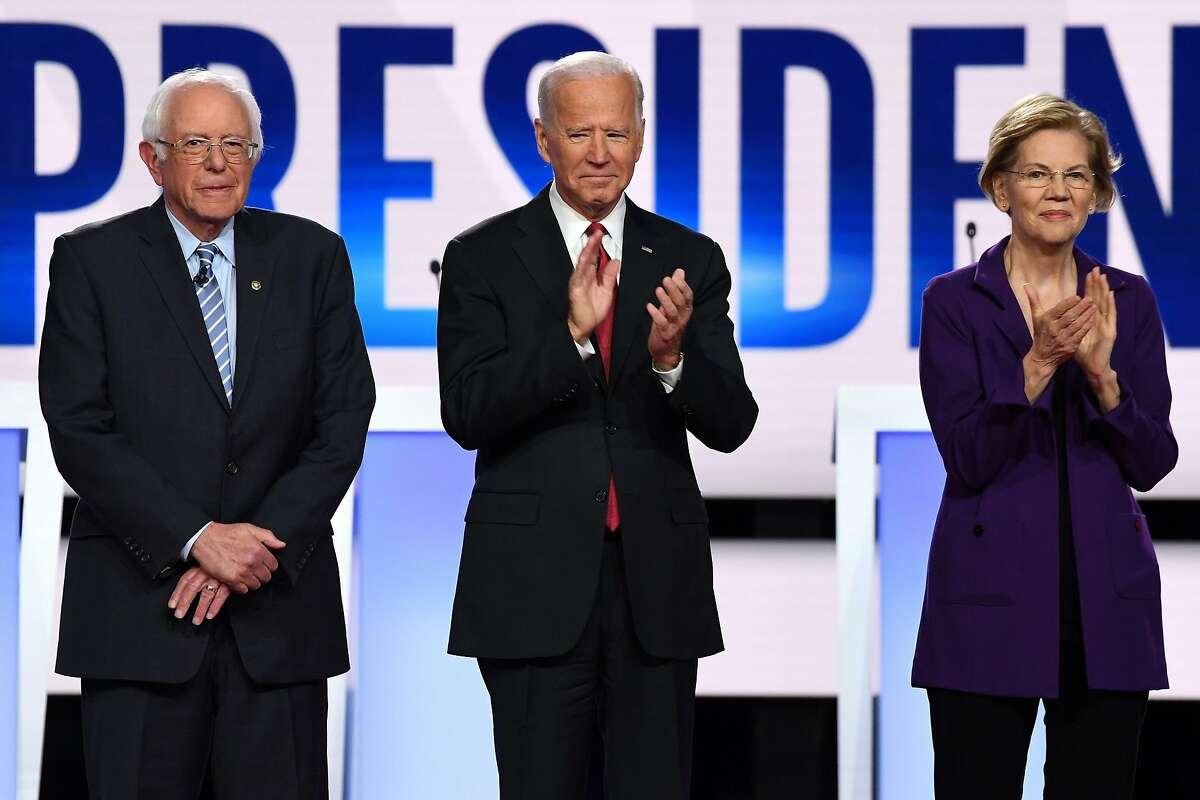 (From left) Democratic presidential hopeful Vermont Senator Bernie Sanders has taken the lead in the latest polls in California followed closely behind by former US Vice President Joe Biden and Massachusetts Senator Elizabeth Warren.