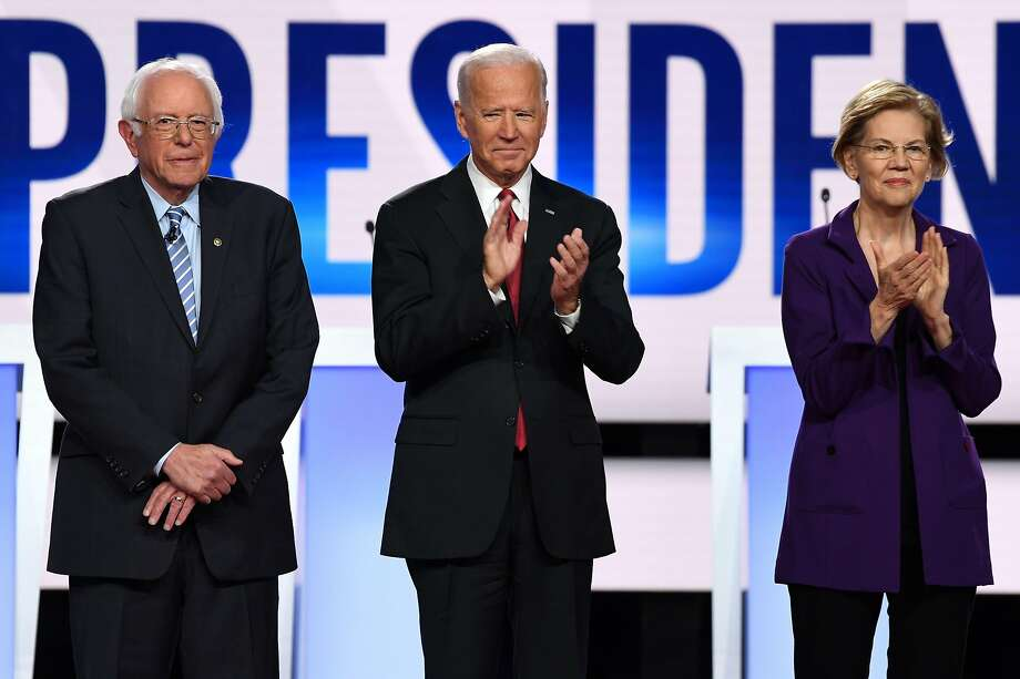 (From left) Democratic presidential hopeful Vermont Senator Bernie Sanders has taken the lead in the latest polls in California followed closely behind by former US Vice President Joe Biden and Massachusetts Senator Elizabeth Warren. Photo: Saul Loeb / Agence France-Presse