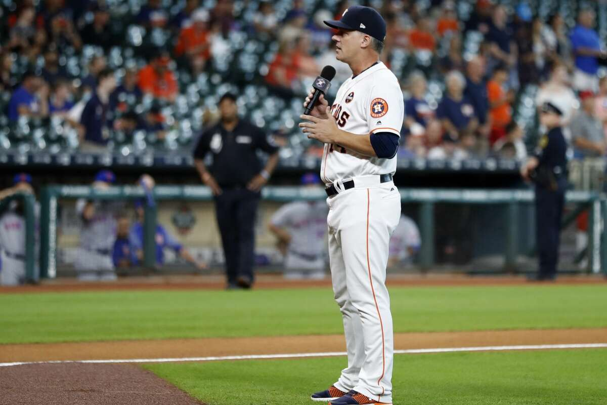 A.J. Hinch addressed Astros fans before the first game at Minute Maid Park after Hurricane Harvey in September 2017. Less than three years later, he was fired for his inaction in the Astros' sign-stealing operation.