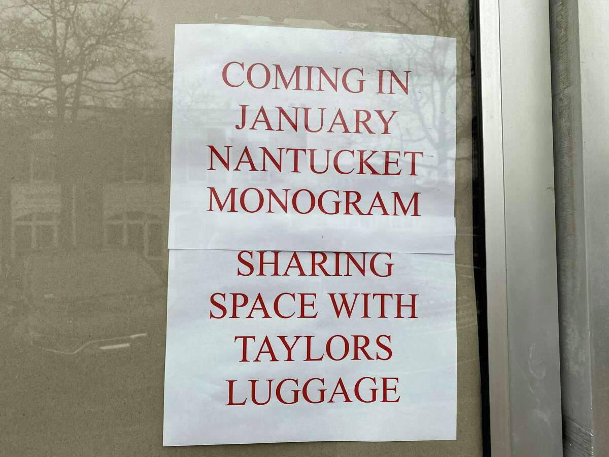 Two New Canaan businesses - Taylor's Luggage and Nantucket Monogram - are merging, according to a sign on the window of Taylor's Luggage. The pictures were taken Friday, Jan. 10, 2020.