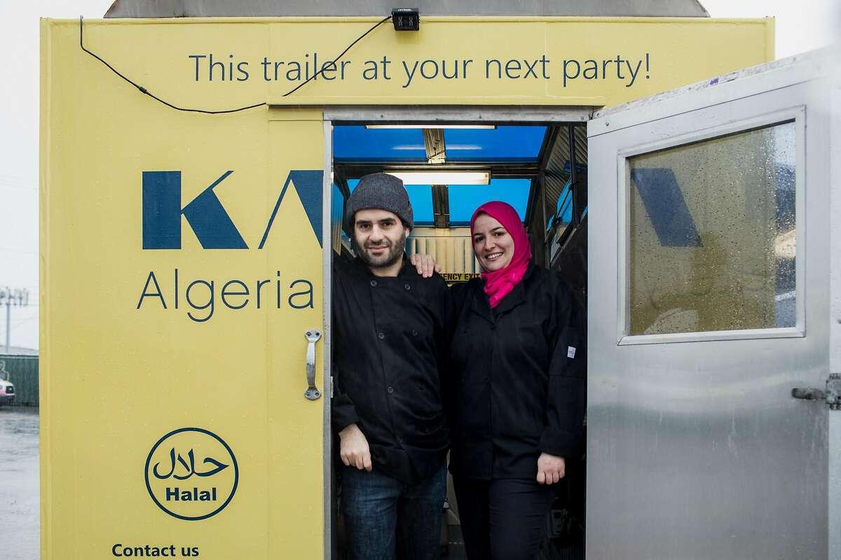 Mounir (left) and Wafa (right) Bahloul at their Algerian food truck, Kayma on December 22, 2019 on Treasure Island in San Francisco, California.