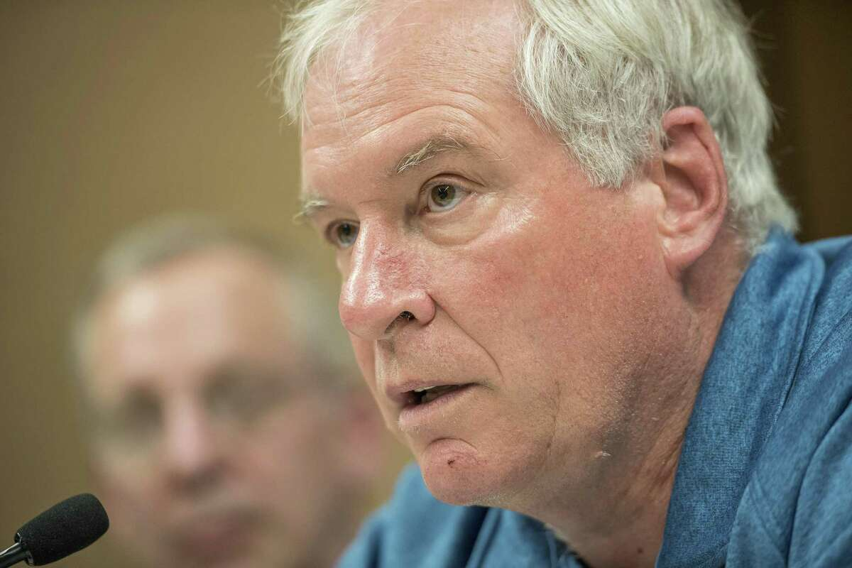 Eric Rosengren, president of the Federal Reserve Bank of Boston, speaks during a meeting with a coalition of activists on the sidelines of the Jackson Hole economic symposium in 2016. On Monday, Rosengren, in Hartford, said the economy is entering a 'soft landing.'