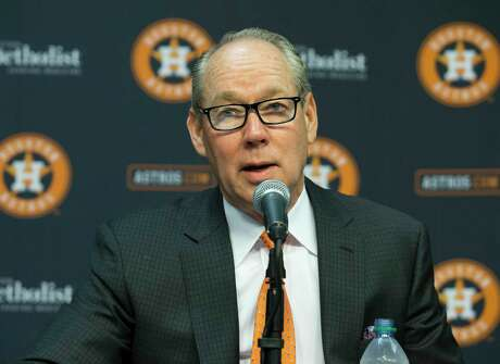 Houston Astros Owner and Chairman Jim Crane announces that he has fired manager A.J. Hinch and general manager Jeff Luhnow after a Major League Baseball commissioner's report on the sign stealing alligation was released on Monday, Jan. 13, 2020, in Houston. Crane said it was a tough day for the team but they will move on.