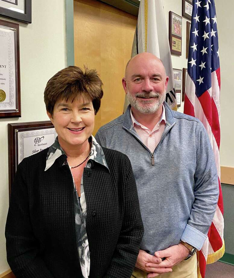Madison Republican Town Committee Chairwoman Amy Stefanowski, left, stands with Bruce Wilson on Jan. 13, 2020, right after Wilson received the recommendation to fill a spot on the Board of Selectmen. Photo: Contributed Photo