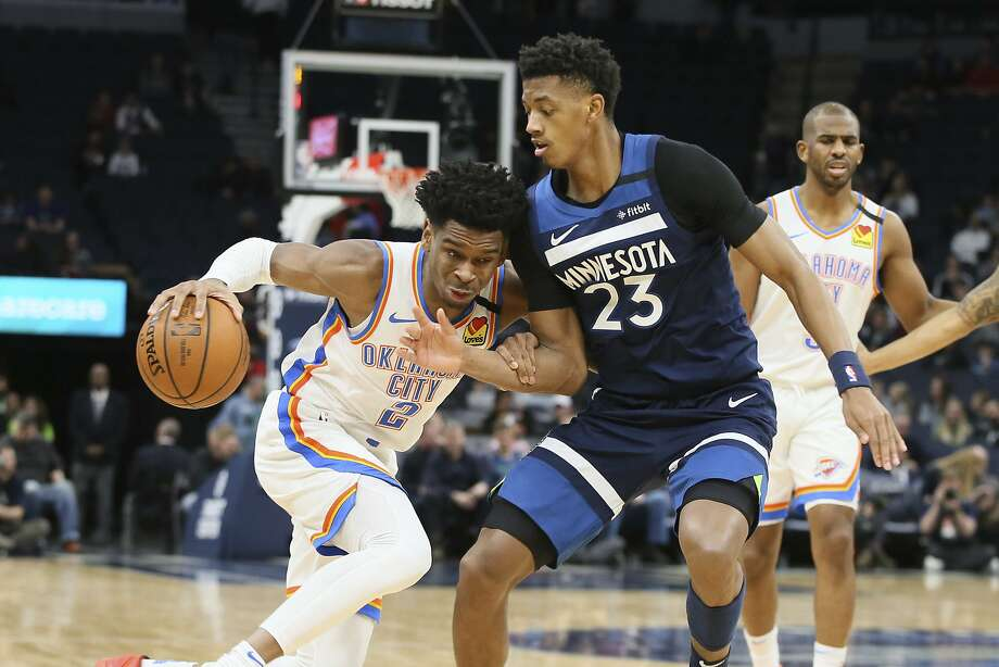 Thunder guard Shai Gilgeous-Alexander had 20 points, 20 rebounds and 20 assists to upend the Timberwolves. Photo: Jim Mone / Associated Press