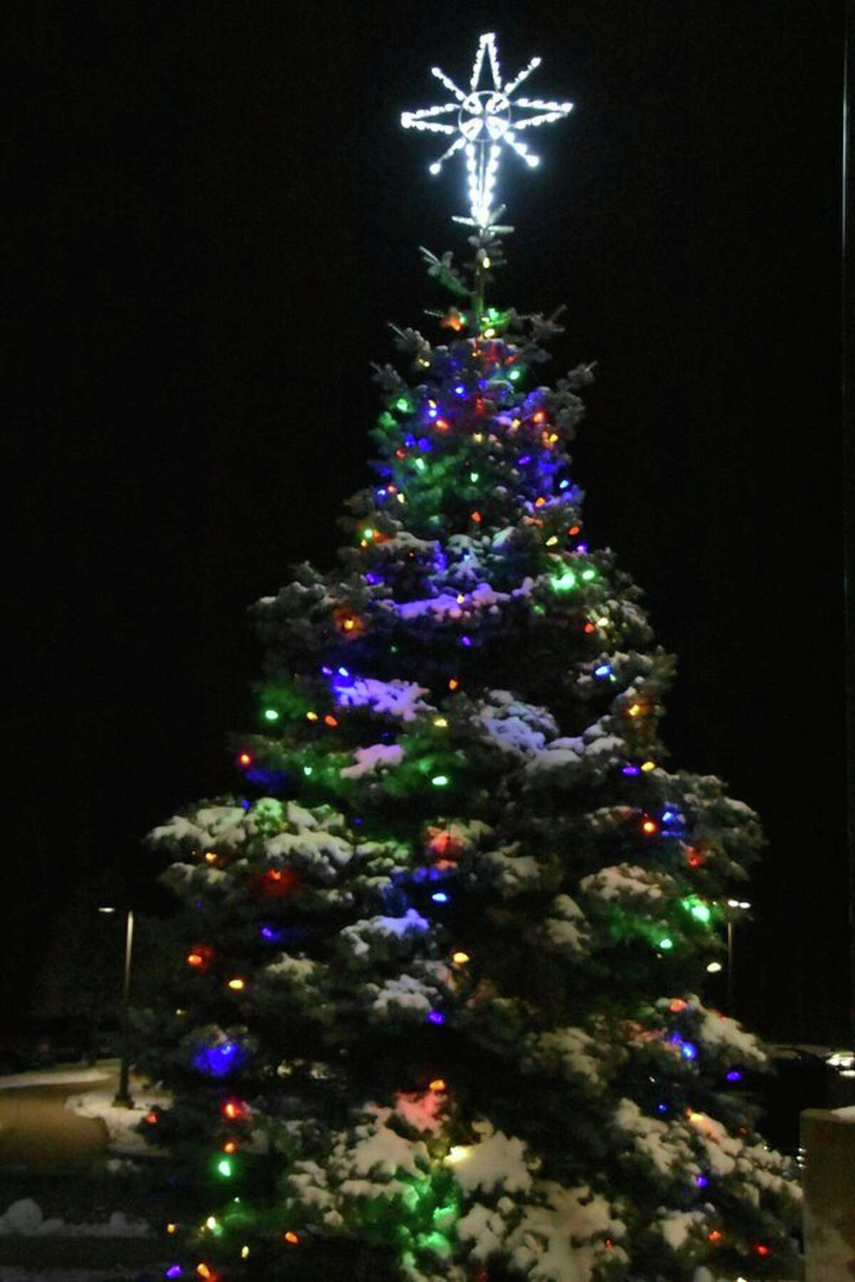 Pictured is one of the 10 Love Light Trees that illuminated the grounds of MidMichigan Medical Center â€