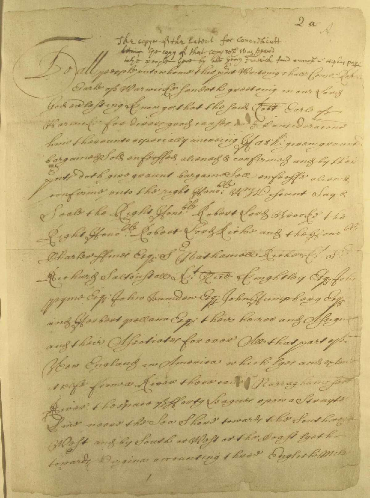 A copy of Connecticut's royal charter of 1662.