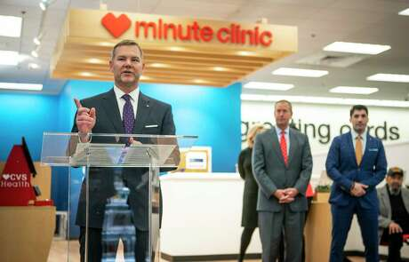 CVS Health Senior Vice President Jeffrey Schmidt speaks during a ceremony celebrating the expansion of CVS's Minute Clinic concept into even more expanded HealthHub locations in 15 Houston-area store in the Galleria area on Monday, Jan. 13.