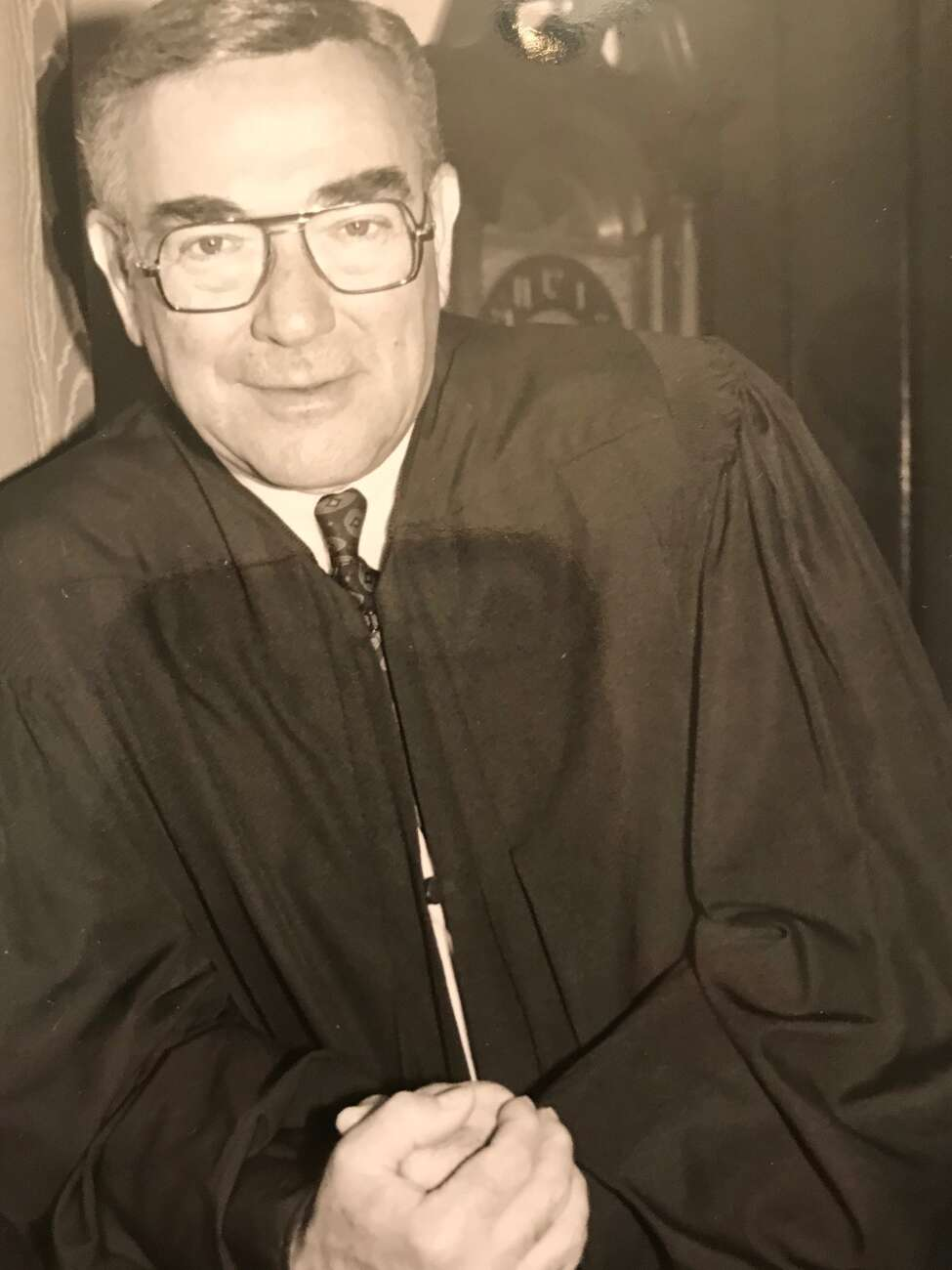 This undated photograph shows Judge Leonard A. Weiss in his judicial robes.