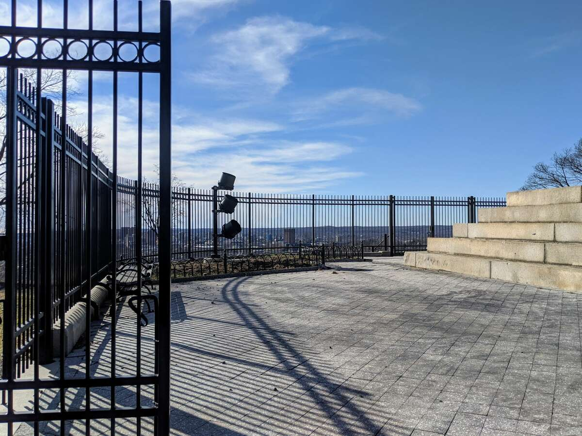 The Soldiers and Sailors Monument atop East Rock in New Haven on Jan. 12, 2020. A new lighting system was recently installed.