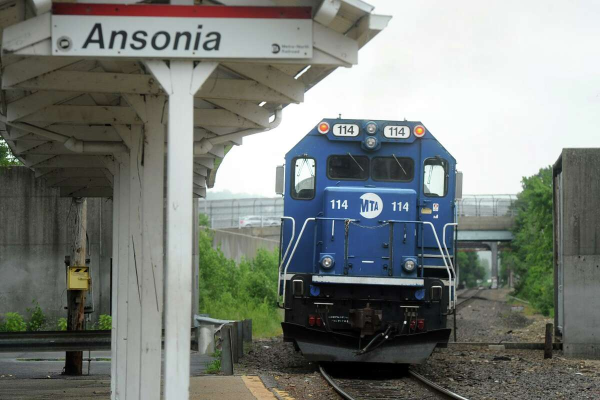 The Waterbury line Metro-North train pulls through the Ansonia trains station, in Ansonia, Conn. July 23, 2018.