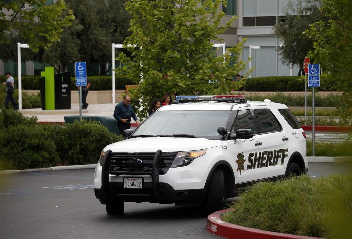 A Santa Clara County Sheriff's vehicle is seen in Cupertino, Calif.
