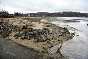 Evidence of the Candlewood Lake drawdown can be seen at the Candlewood Town Park in Danbury Monday, Dec. 13, 2010.