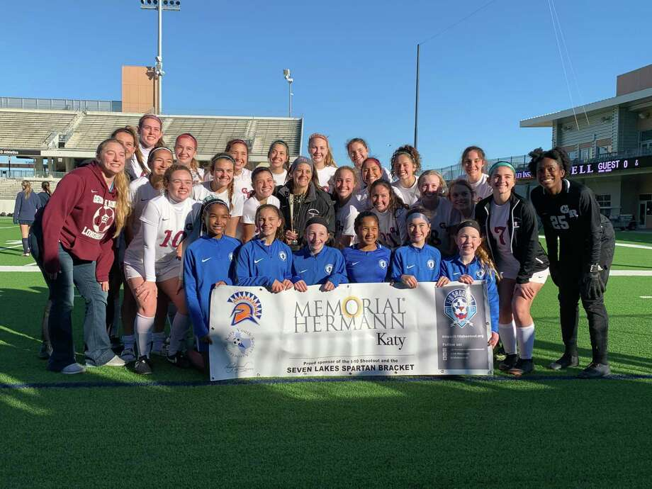 The George Ranch girls soccer team won the Spartan Bracket of the I-10 Shootout, Jan. 11 at Legacy Stadium. The Longhorns defeated Seven Lakes 1-0 on penalty kicks in the final. Photo: Jack Marrion / Houston Chronicle