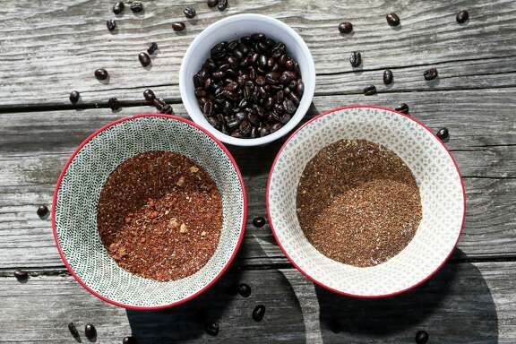 Coffee beans, top, a coffee and chile rub, left, and a coffee rub that uses brown sugar are used to pair with grilled meats.
