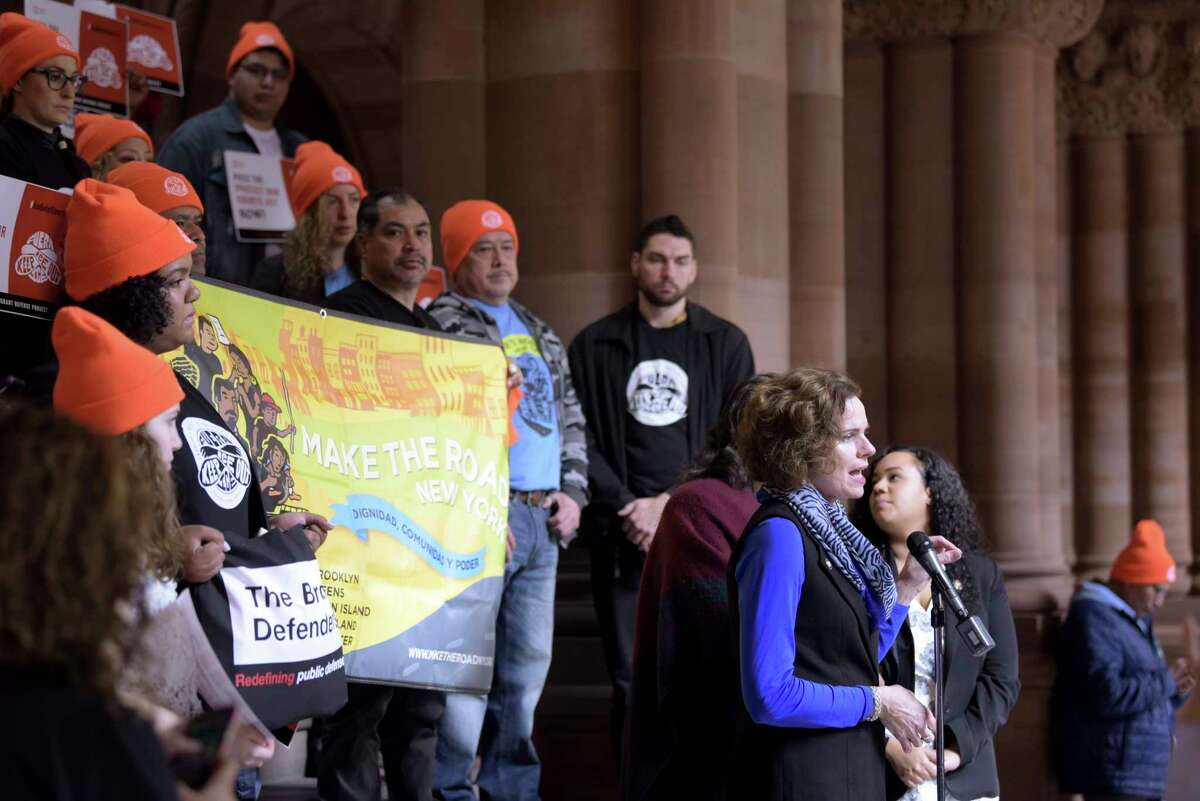 Assemblymember Patricia Fahy speaks at a rally organized by the Immigrant Defense Project at the Capitol on Tuesday, Jan. 14, 2020, in Albany, N.Y. The rally was held to call on legislators to pass the Protect Our Courts Act. (Paul Buckowski/Times Union)