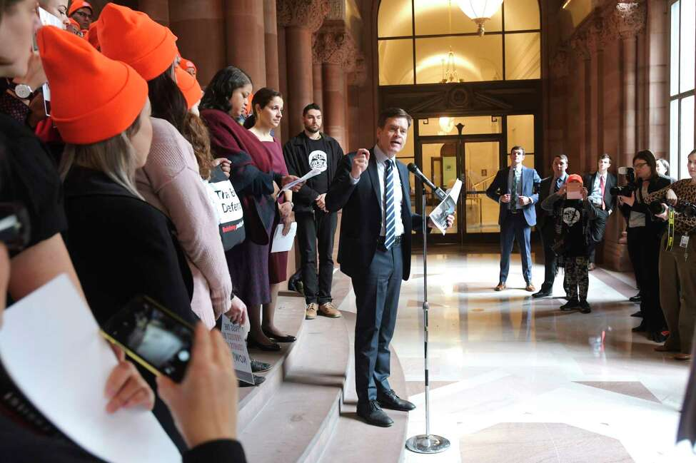 Senator Brad Hoylman speaks at a rally organized by the Immigrant Defense Project at the Capitol on Tuesday, Jan. 14, 2020, in Albany, N.Y. The rally was held to call on legislators to pass the Protect Our Courts Act. (Paul Buckowski/Times Union)