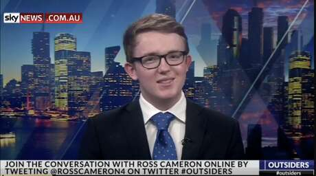 """Wilson Gavin appears on """"Outsiders,"""" a political discussion program on the TV channel Sky News Australia, on May 24, 2018. Photo: Sky News Australia"""