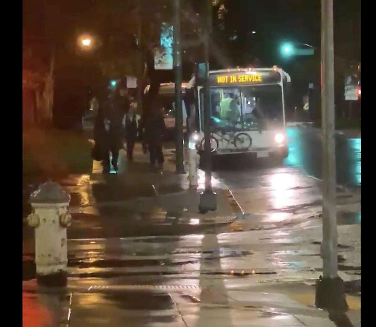 Passengers disembark a SamTrans bus at Sue Bierman Park in San Francisco, Calif.