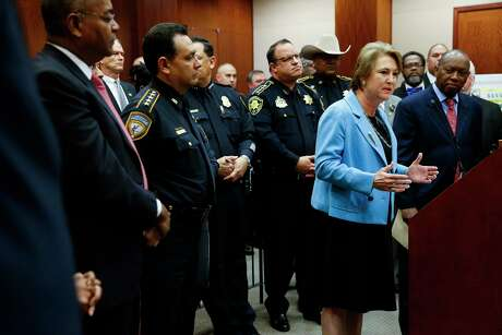 Harris County District Attorney Kim Ogg, shown here in February 2017, Commissioner Rodney Ellis, Sheriff Ed Gonzalez and Constable Alan Rosen (left to right) each face at least one opponent in their respective Democratic primaries in March. (Michael Ciaglo / Houston Chronicle)