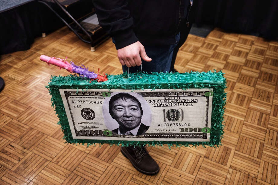 An Andrew Yang supporter Monday night at a rally at Drake University in Des Moines, Iowa. Photo: Washingtonb Post Photo By Holly Bailey / The Washington Post