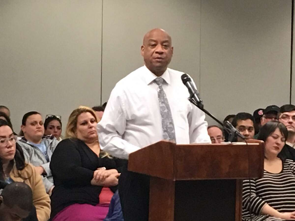 The Rev. Stanley Lord, president of the Greater Bridgeport NAACP addresses Bridgeport Board of Education Jan. 13, 2020