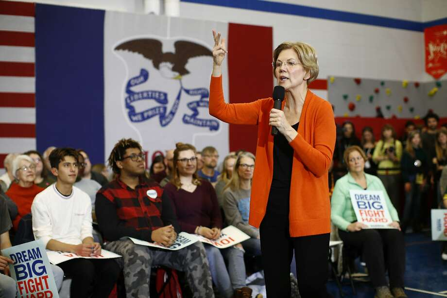 Democratic presidential candidate Sen. Elizabeth Warren speaks at a campaign event in Marshalltown, Iowa. She wants to erase outstanding loans for about 42 million Americans. Photo: Patrick Semansky / Associated Press