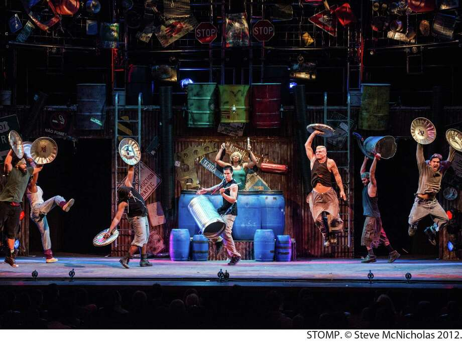"""Trash bins and lids lead to dance at """"Stomp."""" Photo: Shubert Theatre / Contributed Photo"""