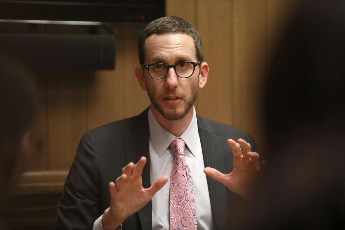 Senator Scott Wiener comes in to talk to the editorial board at the Chronicle on Friday, Jan. 10, 2020, in San Francisco, Calif.