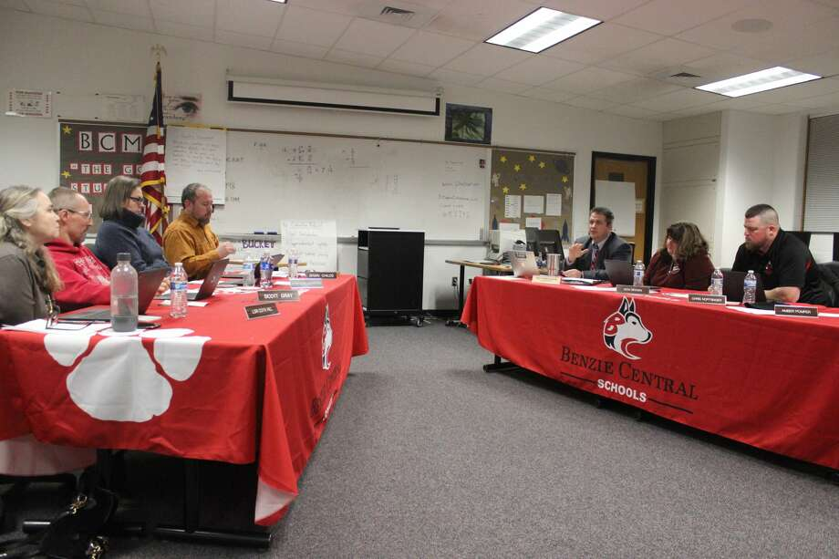 The Benzie Central Schools Board of Education discuses its willingness to change the scope of its desired projects ahead of putting together a third bond proposal request, which could potentially go to the voters as soon as August. Photo: Robert Myers