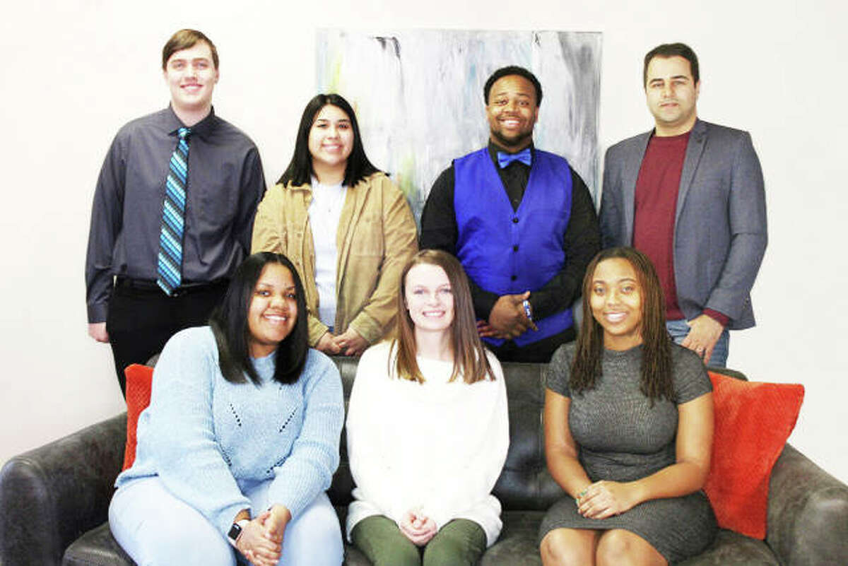 """The """"Get to Know the Metro-East"""" campaign 2019 scholarship recipients: back row, left to right, Zach Fillback (Southern Illinois University Edwardsville), Andrea Serna (Southwestern Illinois College), Demarco Brownlee (McKendree) and Pourya Kargar (SIUE); front row, left to right, Arajah White (SWIC), Lindsey Courtoise (SIUE) and Evan Senat (SIUE). Not pictured: Brady Arnold (SWIC), Carmen Comejo (SIUE), Emily Ellis (SIUE), Hannah Parke (SWIC) and Olivia Middendorf (SIUE)."""