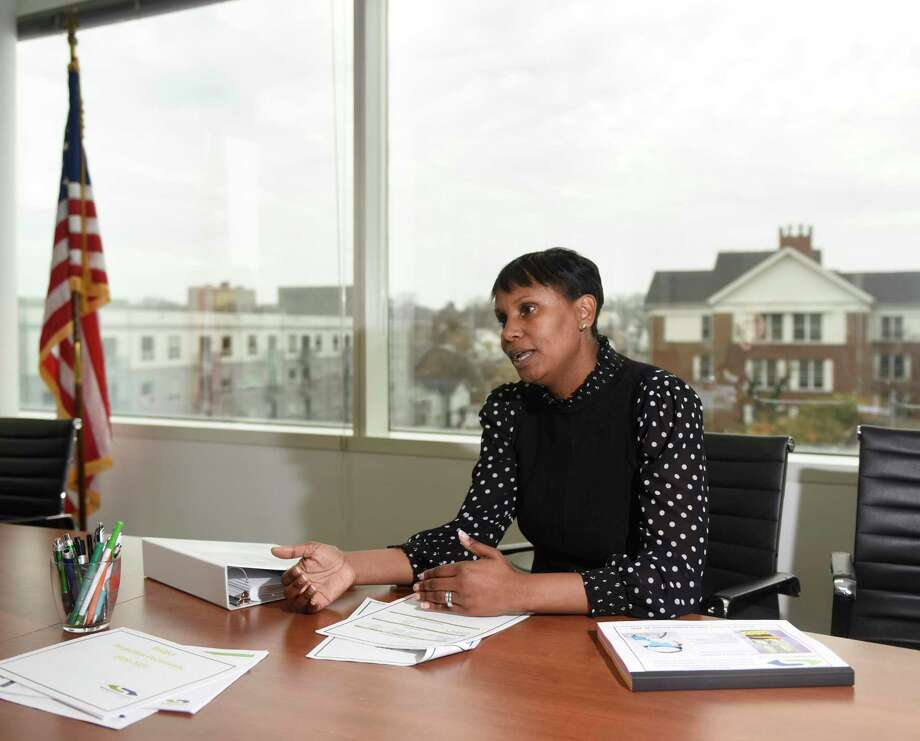 Superintendent of Stamford Public Schools Dr. Tamu Lucero discusses the 2020-2021 budget proposal in her office at the Government Center in Stamford, Conn. Tuesday, Jan. 14, 2020. Photo: Tyler Sizemore / Hearst Connecticut Media / Greenwich Time