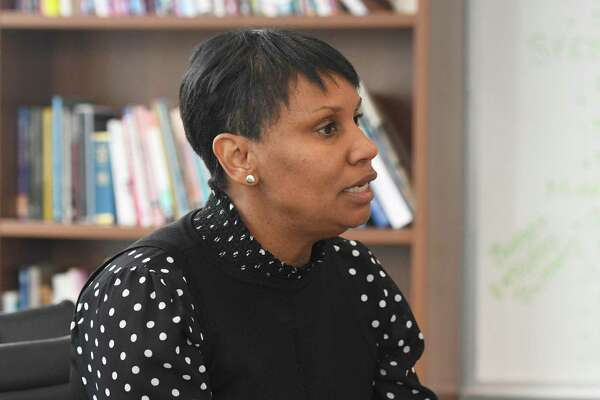 Superintendent of Stamford Public Schools Dr. Tamu Lucero discusses the 2020-2021 budget proposal in her office at the Government Center in Stamford on Jan. 14.