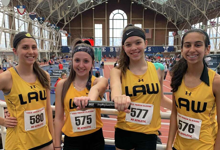Alexis Voytek, Hannah Rascoll, Emma Savoie and Eira Rodriguez's mark of 10:35.21 was good for a new Jonathan Law record. Photo: Contributed Photo / Jonathan Law Athletics / Milford Mirror