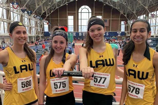 Alexis Voytek, Hannah Rascoll, Emma Savoie and Eira Rodriguez's mark of 10:35.21 was good for a new Jonathan Law record.