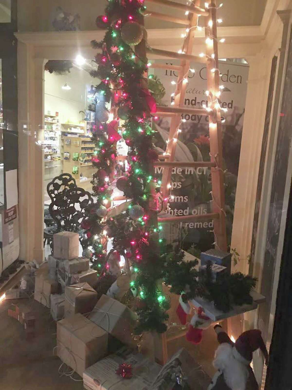 Natural Marketplace was awarded first place for its holiday window decorations.