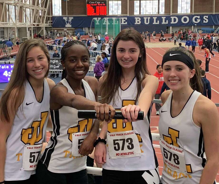 Brooke Dillman, Nia Mayo, Elly Van Wavering and Sydney Simpson ran a personal best of 1:54.27 in the 4x200 for Law at the Yale Classic. Photo: Contributed Photo / Jonathan Law Athletics / Milford Mirror