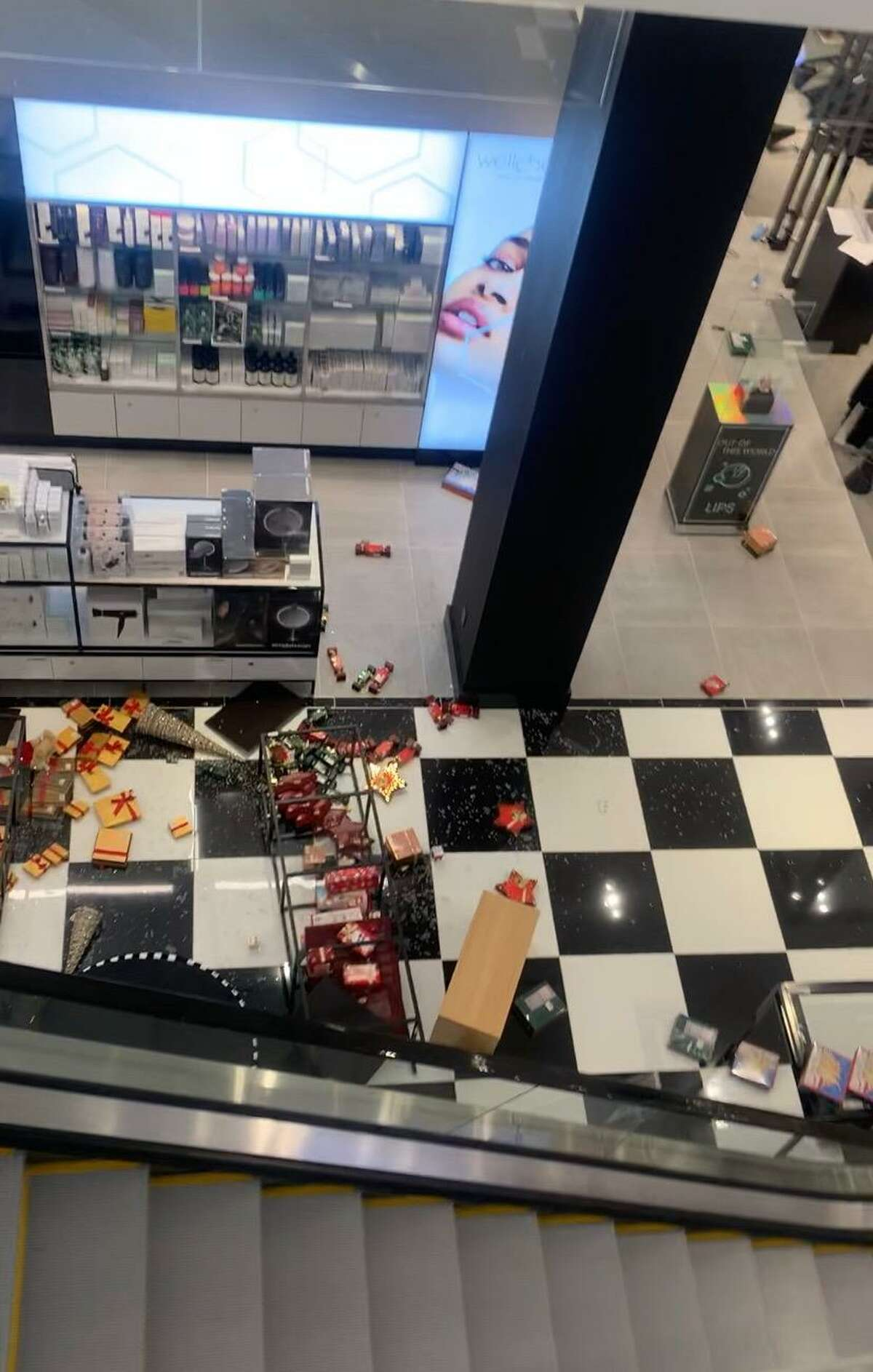 A view of some of the damage at Bloomingdale's in The SoNo Collection.