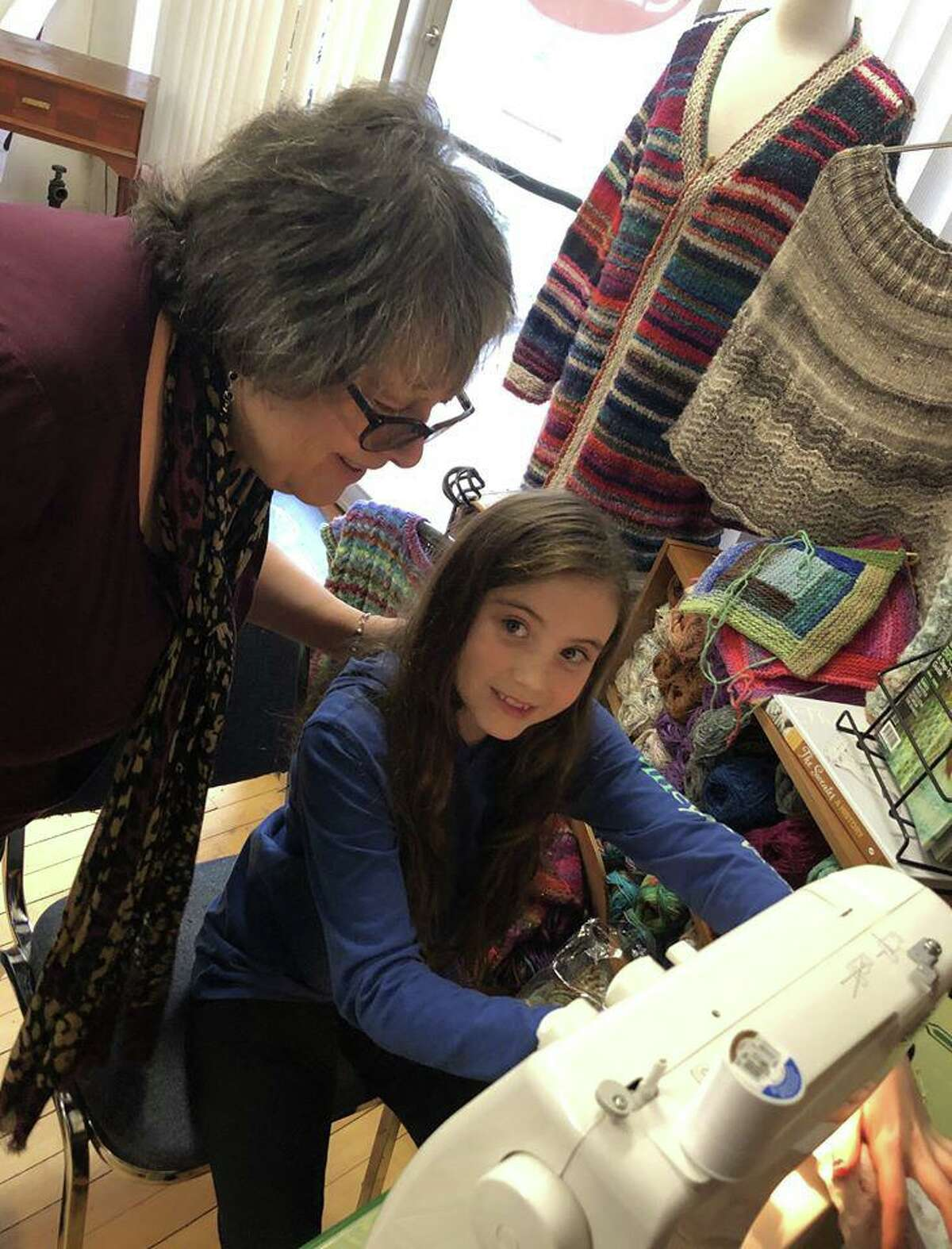 In Sheep's Clothing owner Ginger Balch hosted a sewing workshop at her store on Water Street in Torrington Saturday. The gathering of knitters, crocheters and sewers made